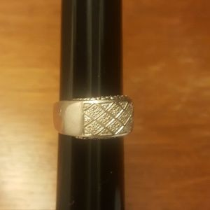 Michael Dawkins silver ring with diamond accent